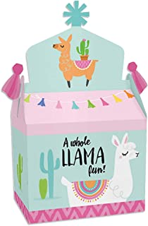 Big Dot of Happiness Whole Llama Fun - Treat Box Party Favors - Llama Fiesta Baby Shower or Birthday Party Goodie Gable Boxes - Set of 12