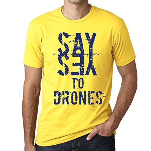 One in the City Hombre Camiseta Vintage T-Shirt Gráfico Say Yes To Drones Amarillo