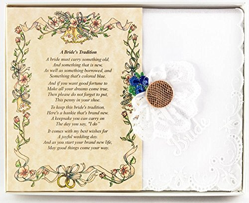 Wedding Handkerchief Poetry Hankie Lucky Penny Something Blue (Friend or Family to Bride) White, Lace Embroidered Bridal Keepsake, Beautiful Poem   Long-Lasting Memento for the Bride   Includes Gift S
