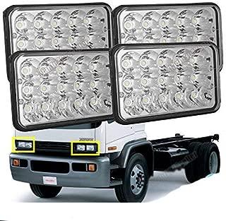 4PCS LED Headlight 4X6 Inch Rectangular Sealed Beam Lights For GMC W3500 W4500 W5500 Forward Isuzu NPR-HD NQR, Replace High Beam/Low Beam H4 Plug H4651 H4642 H4652 H4656 H4666 H4668 H6545 Assembly