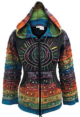Säure Wäsche mehrfarbig Patchwork Kapuzenpulli, Rainbow Gestreift Hippie Jacke, Boho - Schwarz, Small
