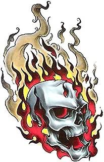 Bullseye Realistic Temporary Tattoo, Skull on Fire Shoulder Arm Leg Big Fake Tattoos Made in USA