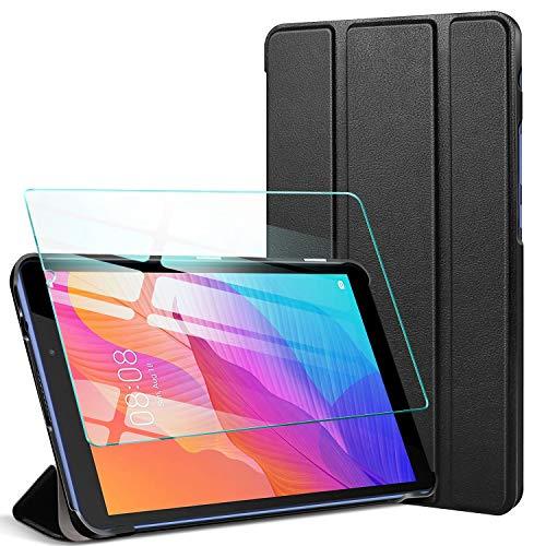 AROYI Custodia Cover per Huawei MatePad T8 8,0 Pollici 2020 + Vetro Temperato, Ultra Sottile Leggero Supporto Protettiva Tablet in Silicone PU Case - Nero