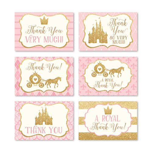 24 Princess Baby Shower Thank You Cards With Envelopes, Kids Thank-You Note, 4x6 Gratitude Card Gift For Guest Pack For Party, Birthday for Girl Children, Cute Pink Royal Queen Crown Event Stationery