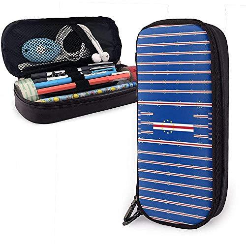 Cape Verde Flag Pen Case Big Capacity Pencil Bag Makeup Pouch Durable Students Stationery with Double Zipper