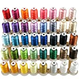 New brothread 40 Brother Couleurs Polyester Fil machine à broder pour Brother / Babylock / Janome / Singer / Kenmore Machine 500M...