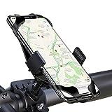 LAYJOY Soporte Movil Bicicleta, Soporte Movil Bici, Bicicleta Montaña y Motocicleta, Silicona Ajustable 360° Rotación Teléfono Universal Manillar para iPhone/Samsung/Huawei/Xiaomi de 3.5'-6.8'(Negro)