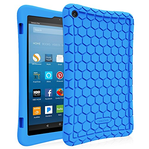 Fintie Silicone Case for Amazon Fire HD 8 (Compatible with 7th and 8th Generation Tablets, 2017 and 2018 Releases) - Honey Comb [Corner Enhancement] Shockproof Kid Friendly Cover, Blue