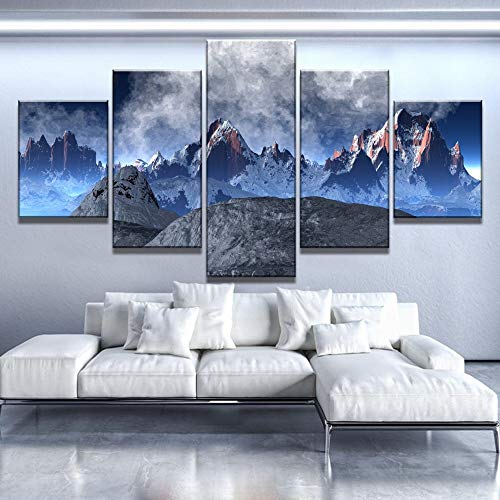5 Canvas paintings Canvas Art Unreal Snow Mountain Cuadros Decoracion Paintings on Canvas for Home Decorations Wall Decor Frameless