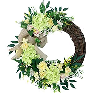 Fifimin 16 Inch Hydrangea Wreath Artificial Flower Front Door Simulation Gardenia Garland Outdoor Spring Wreath Farmhouse Wreath