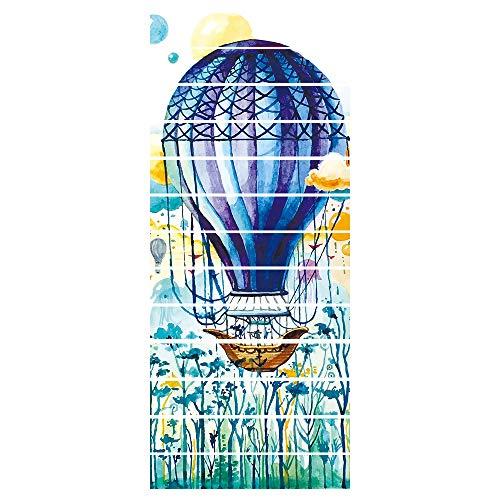 ZDDBD 3D Pegatinas De Escalera Impermeable Autoadhesivo Pegatina De Pared Vinilo Adhesivo Decorativo para Cuartos, Dormitorio,Cocina 18 * 100Cm * 13Pcs- Globo Aerostático-Pastoral