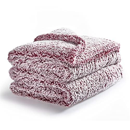 Bedsure Manta Cama 150 Polar - Manta Grande para Sofa Borreguito de Invierno, Manta 220 x 240 cm Cubre Cama 135 de Sherpa Suave y Calentita, Rojo