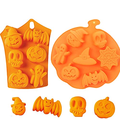 2 Pcs Halloween Molds Silicone Halloween Candy Molds Pumpkin Baking Mold Mini Cake Pan Chocolate Molds Muffin Molds for Making Muffins, Puddings, Chocolates, Cakes,Cupcakes