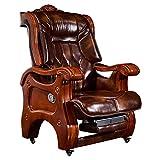 Chaise de patron, cuir solide bois maison Executive chair inclinable Suède chaises de direction ceinture massage président Bureau tour fauteuil inclinable repose-pieds rétractable 360 ° degré pivotant