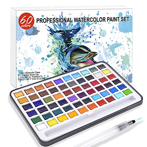 Professional Watercolor Paint-Premium Watercolor Paint Box with 60 Colors-1 Water Brush Pen in a Lightweight Metal Case with a Colorful Package for Artists, Beginners and Students