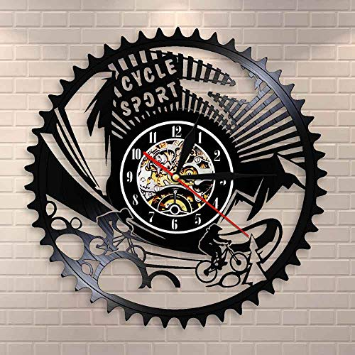 BFMBCHDJ Fahrrad Sport Mountainbike Wandkunst Wanduhr Zahnräder Mountainbiken Vintage Vinyl Schallplatte Wanduhr Radfahren Fahrrad Biker Geschenk
