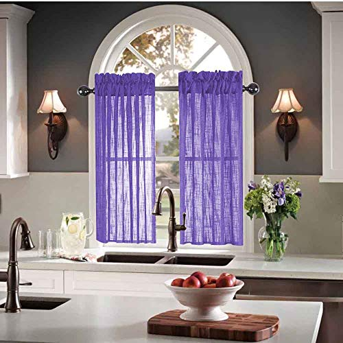 Kitchen Curtains 36 inch Length Sets Semi Sheer Kitchen Window Curtains Purple Lavender Small Curtains for Kitchen Windows 30 X 36 (60 x 36 Inches 2 Short Panels) Striped Linen Textured Cafe Curtains