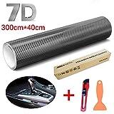 STYLINGCAR 7D Pellicola Adesiva Carbonio Fibra di Carbonio Car Sticker, Adesivo di Protezione per Auto Impermeabile Senza Bolle (300 * 40CM)