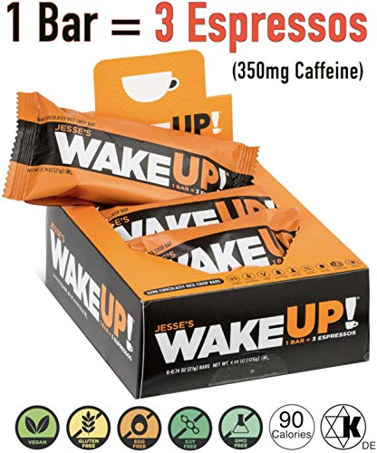 Jesse's WakeUP Nutrition Energy Bars: Gluten Free Snack Bars 350mg of Natural Caffeine to Boost Energy, Mental Clarity and Alertness - 90 Calorie Vegan Dark Chocolate and Rice Crisp Power Bar: 6 Pack