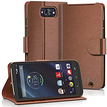 VENA Motorola Droid Turbo Wallet Case [vSuit] Slim Fit Leather Case with Stand and Card Slots for Motorola Droid Turbo  Metallic Black/Red Version Only   Brown