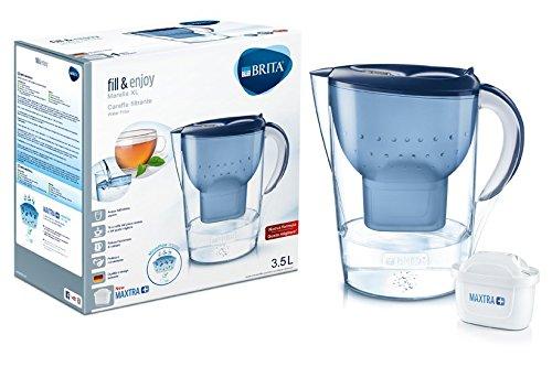 Brita – Karaffe mit Wasserfilter, kompatibel für Maxtra+-Kartuschen, Farbe: Weiß 3,5 L blau