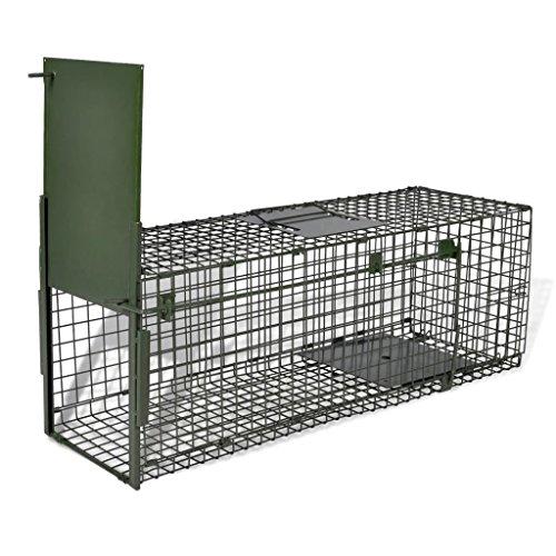 Vislone Plegable 1-Puerta Trampa para Animales Jaula Trampa para Ratón Ratas Zorros Conejos Control Plaga Acero 80x25x25cm