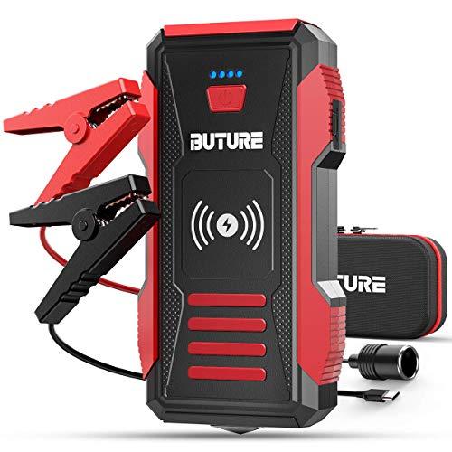 BuTure 23800mAh 2500A Arrancador de Coches con Cargador Inalámbrico, 12V Arrancador de Baterias de Coche para Todo vehículo de Gasolina o 8.0L de Diesel.
