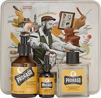 PRORASO Oil Shampoo Balm Beard Set, Wood e Spice