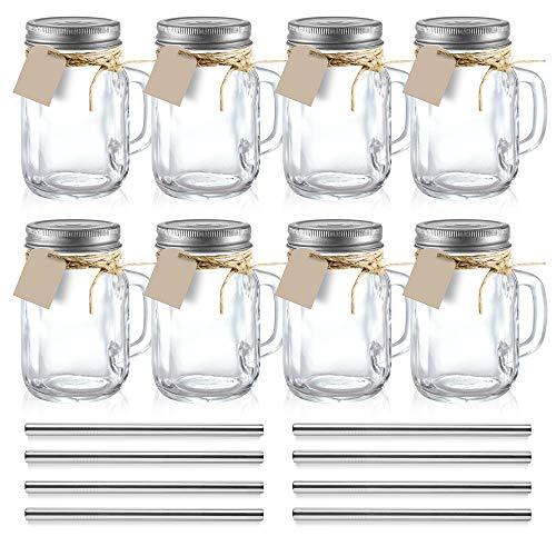 volila Mason Jar aus Glas, Diese Einmachgläser mit Deckel sind perfekt für Smoothies, Cocktails und Overnight Oats - 500ml (8er-Set)