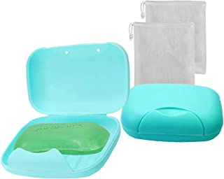 Vonpri Soap Box Holder, 2-Pack Soap Dish Soap Savers Case Container for Bathroom Camping Gym (Blue)
