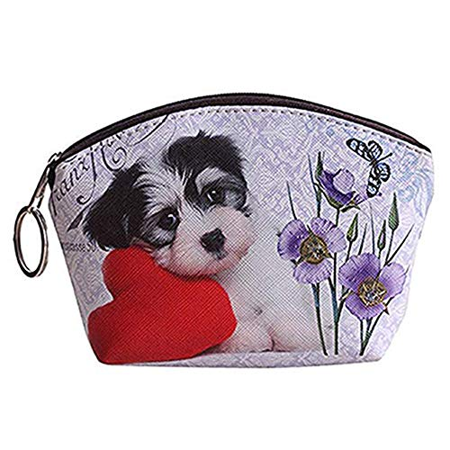 Qinlee Mini Geldbörsen mit Schlüsselring Cute Hund Kätzchen Muster Clutch Bag Münzbörsen Kinder Coin Purse Damen Mädchen Geldbeutel Klein Kosmetiktasche