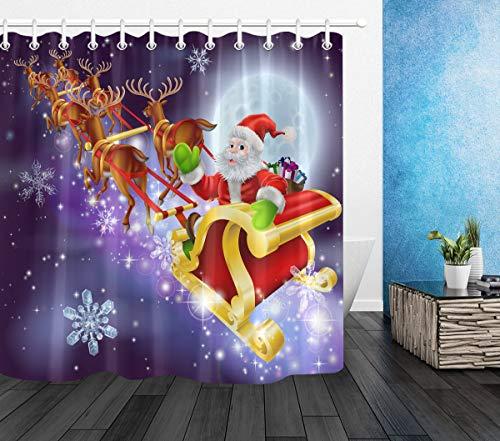 LB Weihnachten Duschvorhang 150X180cm Weihnachtsmann,Rentier,Schneeflocke,Lila Bad Gardinen Polyester Wasserdicht Antischimmel Badezimmer Vorhang mit Haken