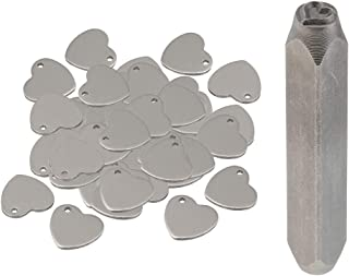 F Fityle 51 Metal Tag Blank Stamping Tag Heart Charms Jewelry Making Stamp Punch Tool