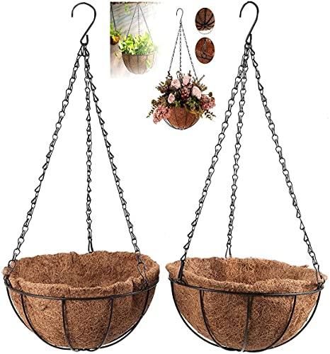 Maceta Colgante Coco Pack 2 Decoración Jardín Macetas para Colgar Tiestos para Plantas Macetas...