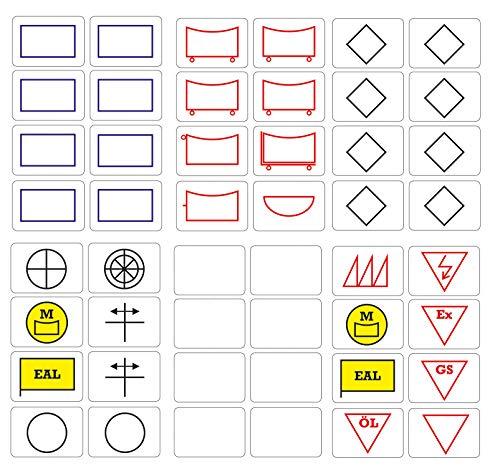 Taktifol Haftsymbole selbsthaftende taktische Zeichen (Fahrzeuge schwarz)