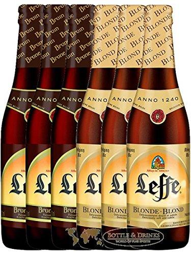 Leffe Biermix Belgian Bier 3 x 0,33 Liter hell und 3 x 0,33 Liter dunkel