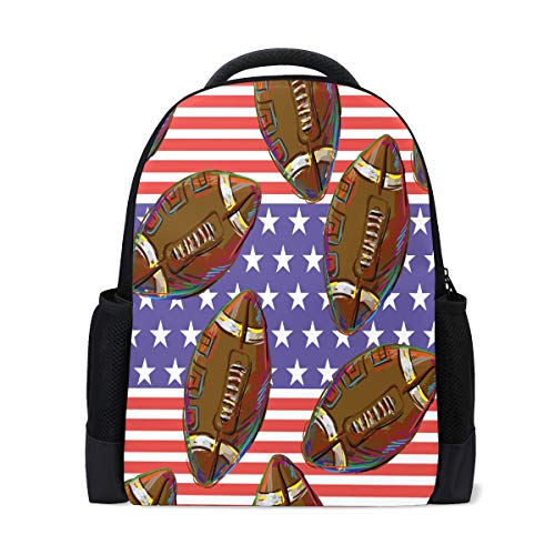 American Football Muster Reise Laptop Rucksack Schule Buch Tasche Usa Flag Causal Daypack Outdoor Business Wandern Rucksäcke Camping Schultertaschen für Studenten Damen Herren
