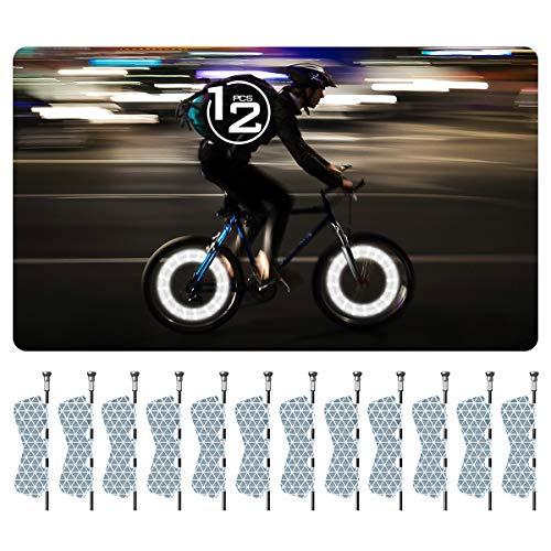 fruitlet Fahrrad Reflektoren Aufkleber (12 Stück), Hoch Reflektierend Hochviskos,Sicherheitsetiketten Selbstklebend,Stark für Kinderwagen Fahrräder Speichenreflektoren