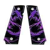 Custom 1911 A1 Full Size Dragon Tattoo Purple SPD Acrylic Ambidextrous Grips- Compatible with Kimber, Colt, Taurus and Sig