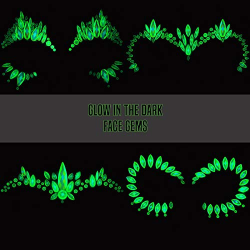 Face Gems Glow in the Dark 4 (UK Company) Pack Extra...