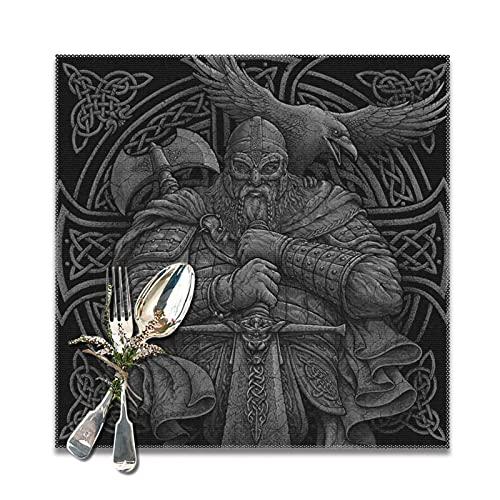 Coole keltische Odin Krieger Schwert Axt Rabe Knoten Wikinger Helm Ghost Print Tischsets 6er Set|Tischset für Esstisch Hitzebeständige rutschfeste Küchentischmatten Leicht zu reinigen