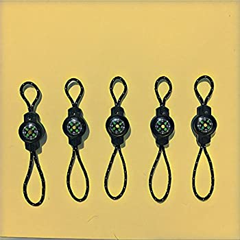 10 grosses boussoles avec cordon à glissière pour le sport en plein air et les voyages Porte-clés pour sac à dos Attache pour fermeture éclair