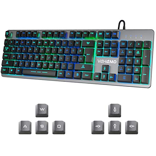 Gaming Keyboard Vehemo USB Wired RGB Keyboard Backlit Keyboard 7 Colors Breathing LED Keyboard...