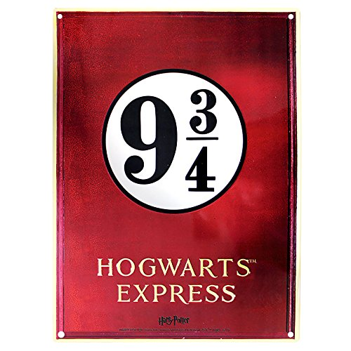 ABYstyle Harry Potter - Cartel (28 x 38 cm, Metal), diseño con Texto Gleis 9 3/4 Hogwarts Express, Color Rojo