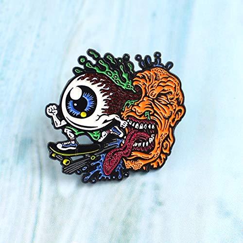 QISKAII Kreative Eye Skate Pin Horror Lange Zunge Grimasse Gehirn Gift Auge Skateboard Skaten Lustige Brosche Denim Mantel Abzeichen Schmuck