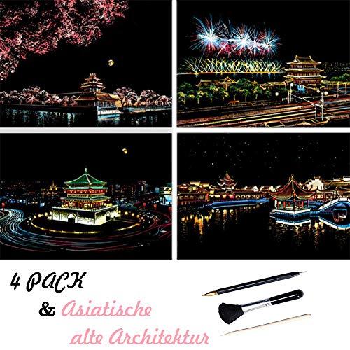 ShipeeKin 4X Kratzbilder, 290x210 MM Asiatische alte Architektur Wandbild, Beschichtete Bunte Kratzpapier mit Werkzeug Set