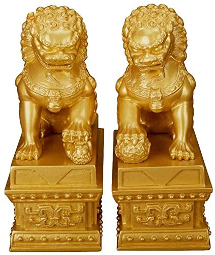 LHMYGHFDP Feng Shui Guardian Lions Statues Pure Copper Lion Ornaments at Bodhi Temple The Lion Has Spirituality Ward Off Evil Energy Feng Shui Decor Figurine-A