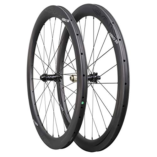 ICAN Ruedas de Carbono Aero 50 Disc Bicicleta de Carretera Ruedas 50mm Clincher tubeless Ready Disco Freno 12x100/12x142mm sólo 1430g