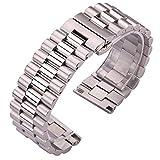 HPTQJ Correa de Acero Inoxidable 22 mm 20 mm 24 mm Reloj de Metal sólido Pulsera Hombres Mujeres Silver Reloj Bandas Accesorios Regalo cálido (Band Color : Silver, Band Width : 24mm)
