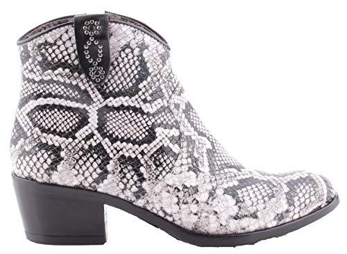 Mjus Dames Cowboy laarzen Dallas Nero Zwart Wit (38 EU)
